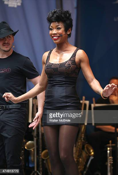 Brandy performs at United presents 'Stars in the Alley' in Shubert Alley on May 27 2015 in New York City