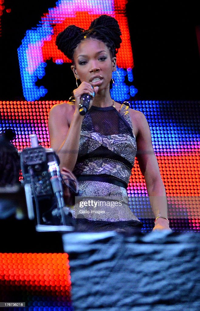 Brandy performs during the Nelson Mandela Sports & Cultural day music concert at the FNB Stadium on August 17, 2013 in Soweto, South Africa. The event is a tribute to honour the life of former president Nelson Mandela. Nelson Mandela is still in the Medi-Clinic Heart Hospital in Pretoria in a critical but stable condition.