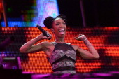 Brandy performs during the Nelson Mandela Sports Cultural day music concert at the FNB Stadium on August 17 2013 in Soweto South Africa The event is...