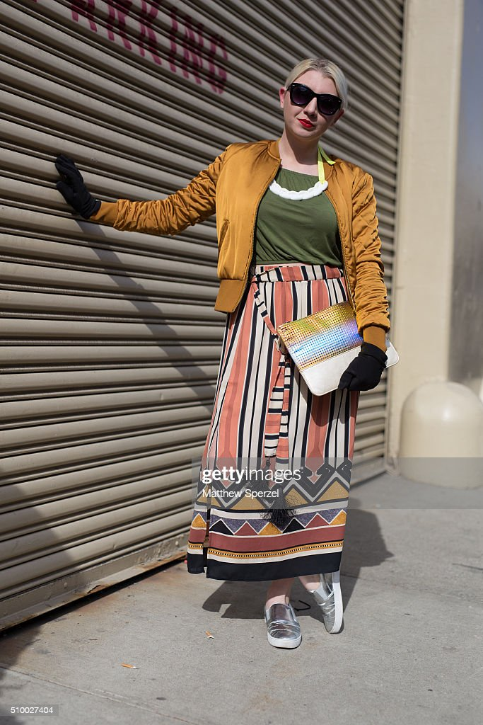 Brandy Robidoux is seen at Rebecca Minkoff wearing Betsey Johnson glasses, H&M jacket, shirt, and skirt with Michael Kors shoes and thrifted clutch during New York Fashion Week: Women's Fall/Winter 2016 on February 13, 2016 in New York City.
