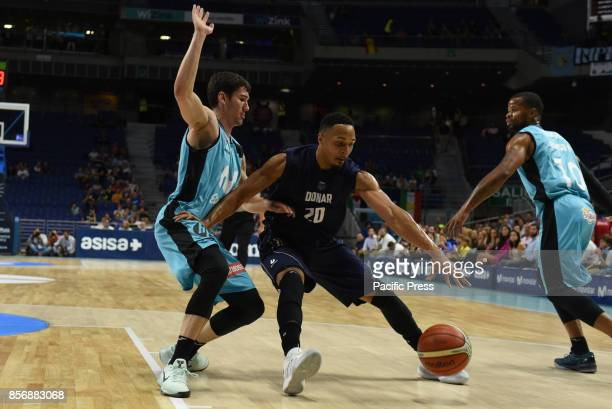 Brandyn Curry #20 of Donar Groningen in action during the second game of Qualification Round for the basketball Champions league between Estudiantes...