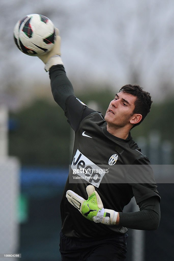 Branescu of Juventus FC throws the ball during the Juvenile match between Juventus FC and FC Parma at Juventus Center Vinovo on November 21, 2012 in Vinovo, Italy.