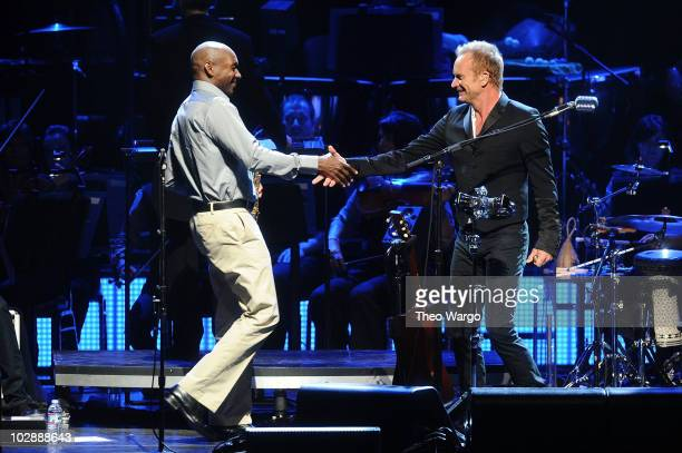 Branford Marsalis and Sting perform during his 'Symphonicity' Tour featuring the Royal Philharmonic Concert Orchestra at The Metropolitan Opera House...