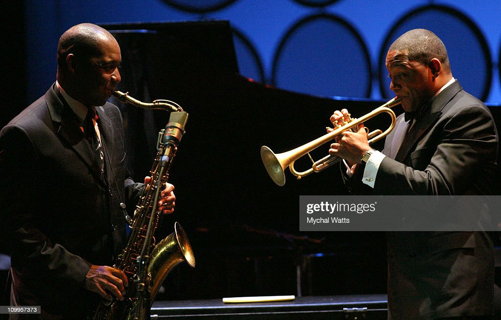 <a gi-track='captionPersonalityLinkClicked' href=/galleries/search?phrase=Branford+Marsalis&family=editorial&specificpeople=212811 ng-click='$event.stopPropagation()'>Branford Marsalis</a> and <a gi-track='captionPersonalityLinkClicked' href=/galleries/search?phrase=Wynton+Marsalis&family=editorial&specificpeople=215421 ng-click='$event.stopPropagation()'>Wynton Marsalis</a> during Jazz at Lincoln Center's Annual Spring Gala 2004 Themed Teach Me Tonight at Apollo Theater in New York City, New York, United States.