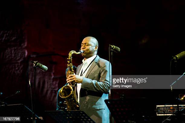 Branford Marsalis performs at the AllStar Concert as part of the International Jazz Day at Hagia Irene Museum on April 30 2013 in Istanbul Turkey