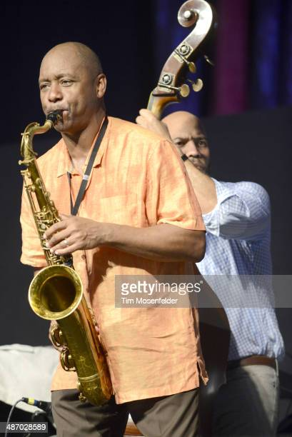 Branford Marsalis performs during the 2014 New Orleans Jazz Heritage Festival Day 2 at Fair Grounds Race Course on April 26 2014 in New Orleans...