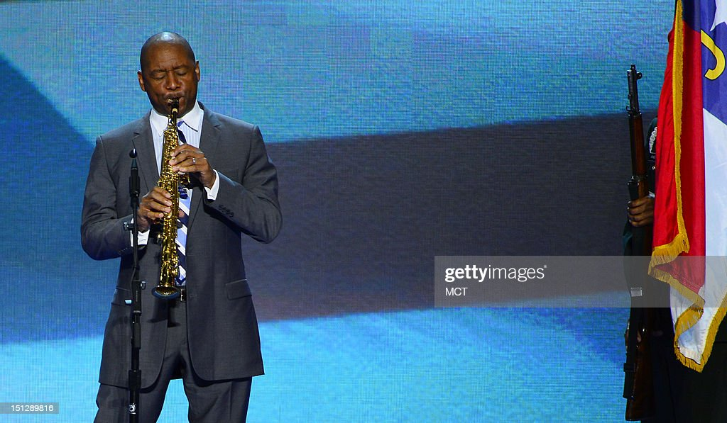 Branford Marsalis performs the Star Spangled Banner at the second night of the 2012 Democratic Convention at Time Warner Cable Arena, Wednesday, September 5, 2012 in Charlotte, North Carolina.