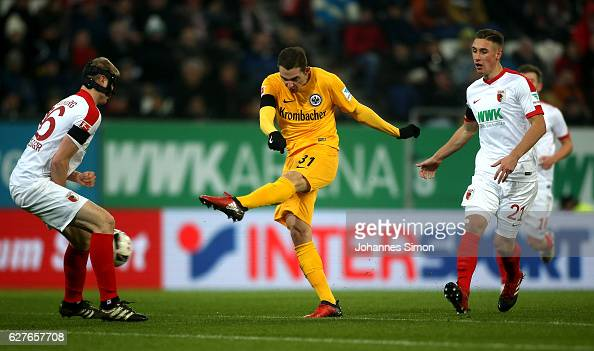 Branimir Hrgota of Frankfurt scores his team's first goal during the Bundesliga match between FC Augsburg and Eintracht Frankfurt at WWK Arena on...