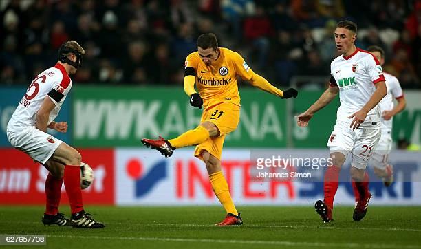 Branimir Hrgota of Frankfurt scores his team's first goal during the Bundesliga match between FC Augsburg and Eintracht Frankfurt at WWK Arena on...