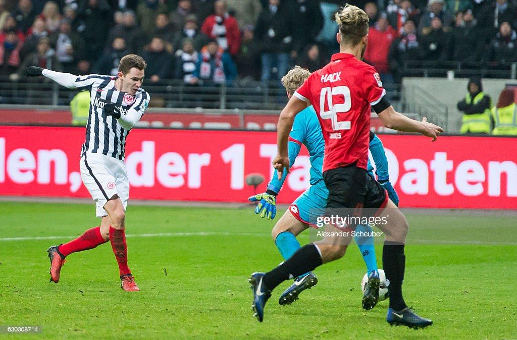 Branimir Hrgota of Frankfurt scores the third goal for his team during the Bundesliga match between Eintracht Frankfurt and 1. FSV Mainz 05 at Commerzbank-Arena on December 20, 2016 in Frankfurt am Main, Germany.