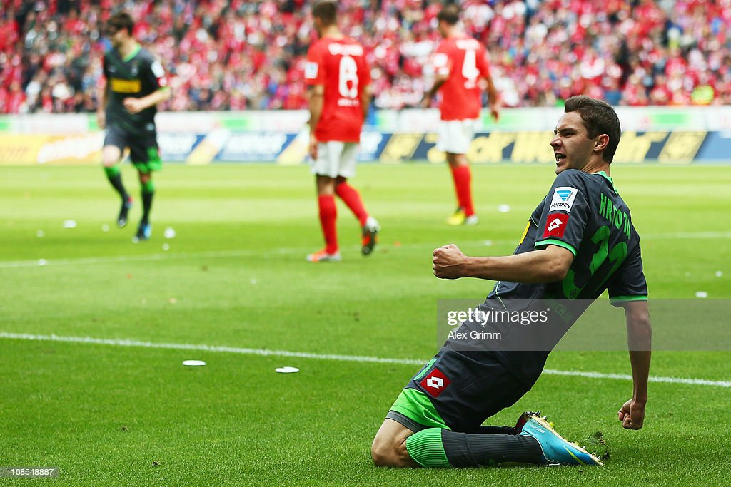 Branimir Hrgota of Moenchengladbach celebrates his team's first goal during the Bundesliga match between 1. FSV Mainz 05 and VfL Borussia Moenchengladbach at Coface Arena on May 11, 2013 in Mainz, Germany.