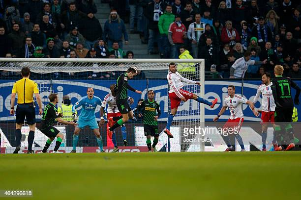 Branimir Hrgota of Moenchengladbach scores his team's first goal during the Bundesliga match between Hamburger SV and Borussia Moenchengladbach at...