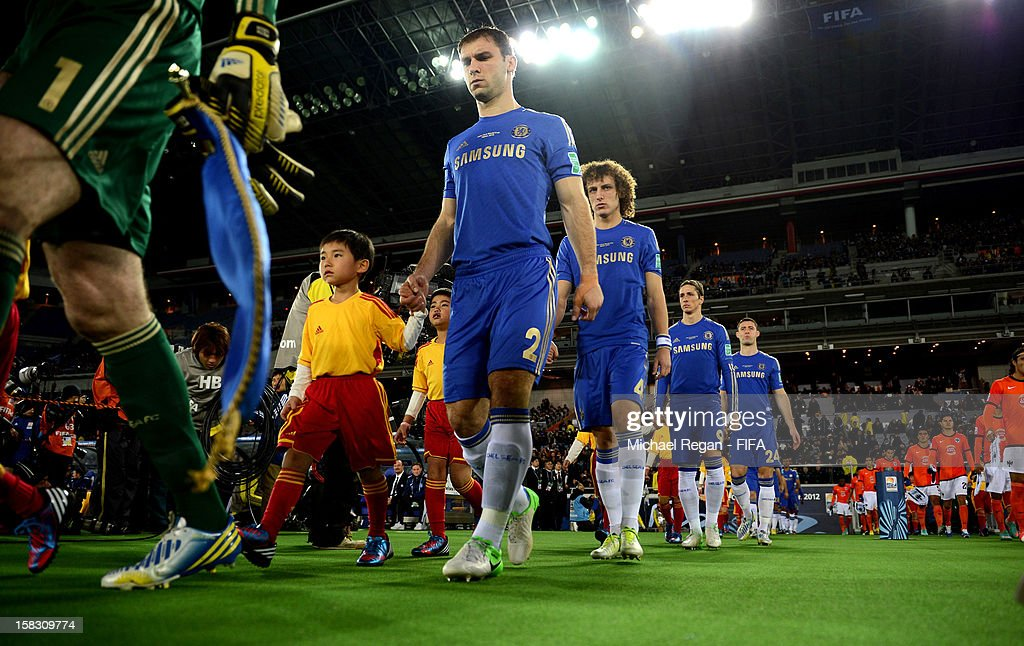 Branislav Ivanovic, David Luis, Fernando Torres and Gary Cahill emerge from the tunnel before the FIFA Club World Cup Semi Final match between CF Monterrey and Chelsea at International Stadium Yokohama on December 13, 2012 in Yokohama, Japan.