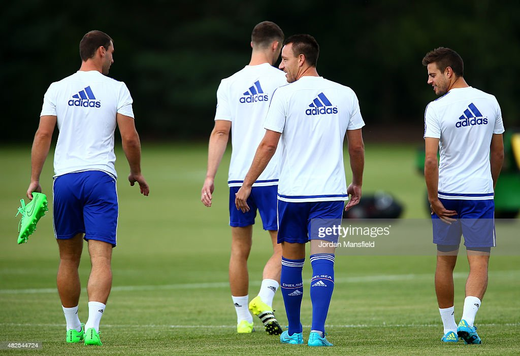Branislav Ivanovic Gary Cahill John Terry and Cesar Azpilicueta of Chelsea during a training session at Chelsea Training Ground on July 31 2015 in...