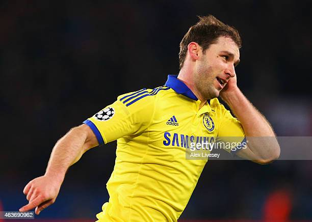 Branislav Ivanovic of Chelsea celebrates as he scores their first goal during the UEFA Champions League Round of 16 match between Paris SaintGermain...