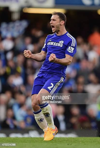 Branislav Ivanovic of Chelsea celebrates at the final whistle during the Barclays Premier League match between Chelsea and Manchester United at...