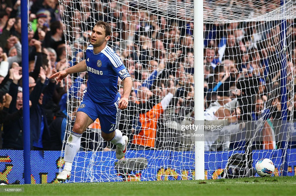 Branislav Ivanovic of Chelsea celebrates his goal during the Barclays Premier League match between Chelsea and Wigan Athletic at Stamford Bridge on April 7, 2012 in London, England.