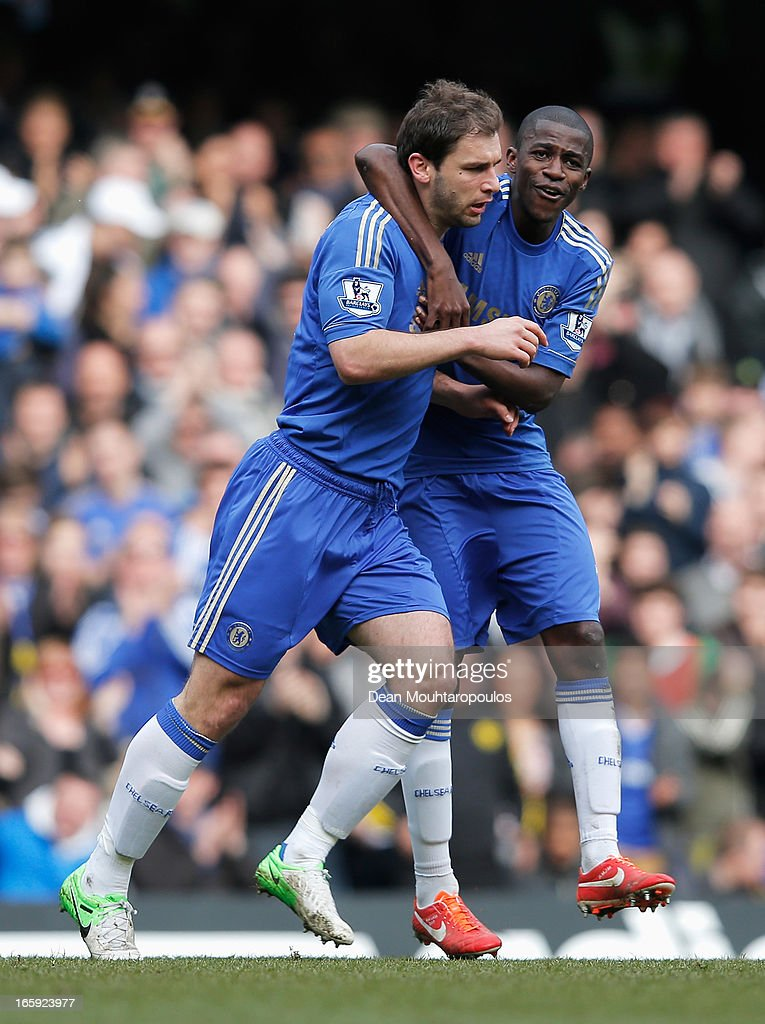 Branislav Ivanovic (L) of Chelsea celebrates his goal with Ramires during the Barclays Premier League match between Chelsea and Sunderland at Stamford Bridge on April 7, 2013 in London, England.