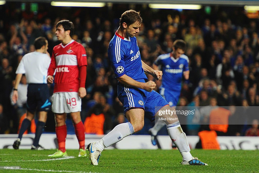 Branislav Ivanovic of Chelsea celebrates scoring his second goal during the UEFA Champions League Group F match between Chelsea and Spartak Moscow at Stamford Bridge on November 3, 2010 in London, England.