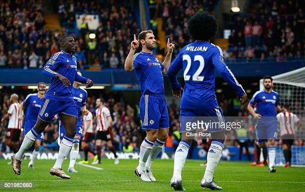 Branislav Ivanovic of Chelsea celebrates scoring his team's first goal during the Barclays Premier League match between Chelsea and Sunderland at...