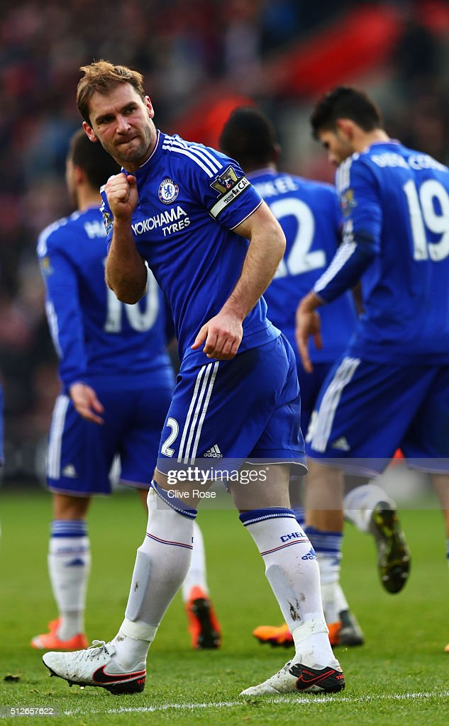 Branislav Ivanovic of Chelsea celebrates scoring his team's second goal during the Barclays Premier League match between Southampton and Chelsea at St Mary's Stadium on February 27, 2016 in Southampton, England.