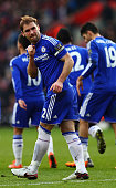 Branislav Ivanovic of Chelsea celebrates scoring his team's second goal during the Barclays Premier League match between Southampton and Chelsea at...