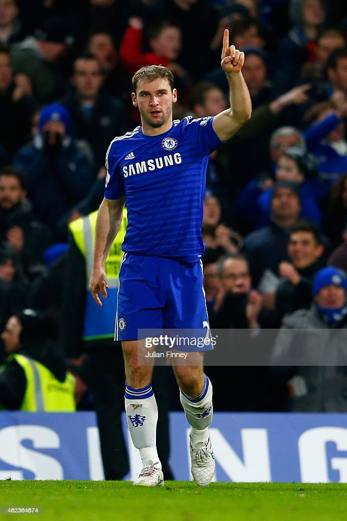 <a gi-track='captionPersonalityLinkClicked' href=/galleries/search?phrase=Branislav+Ivanovic&family=editorial&specificpeople=607152 ng-click='$event.stopPropagation()'>Branislav Ivanovic</a> of Chelsea celebrates scoring their first goal in extra time during the Capital One Cup Semi-Final second leg between Chelsea and Liverpool at Stamford Bridge on January 27, 2015 in London, England.