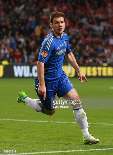 Branislav Ivanovic of Chelsea celebrates scoring their second and winning goal during the UEFA Europa League Final between SL Benfica and Chelsea FC...
