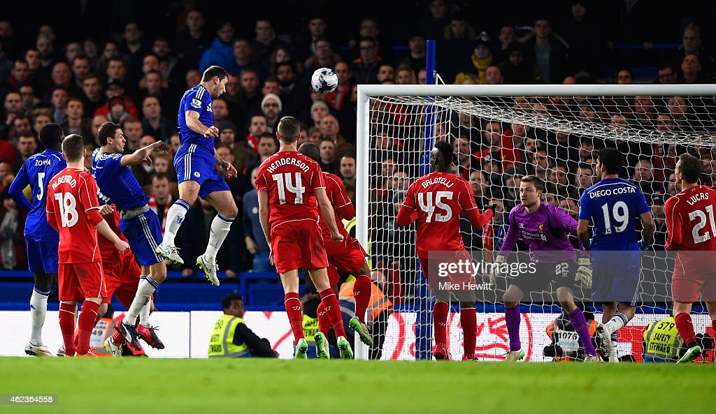 <a gi-track='captionPersonalityLinkClicked' href=/galleries/search?phrase=Branislav+Ivanovic&family=editorial&specificpeople=607152 ng-click='$event.stopPropagation()'>Branislav Ivanovic</a> of Chelsea heads in their first goal in extra time during the Capital One Cup Semi-Final second leg between Chelsea and Liverpool at Stamford Bridge on January 27, 2015 in London, England.