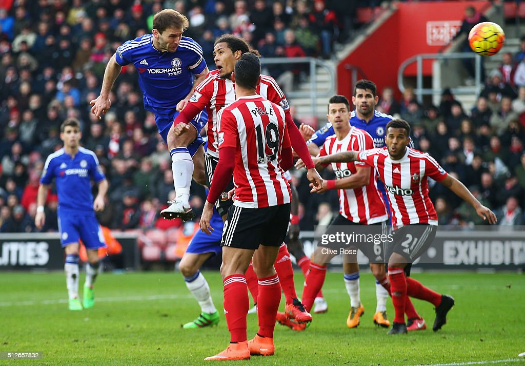Branislav Ivanovic of Chelsea heads the ball to score his team's second goal during the Barclays Premier League match between Southampton and Chelsea at St Mary's Stadium on February 27, 2016 in Southampton, England.