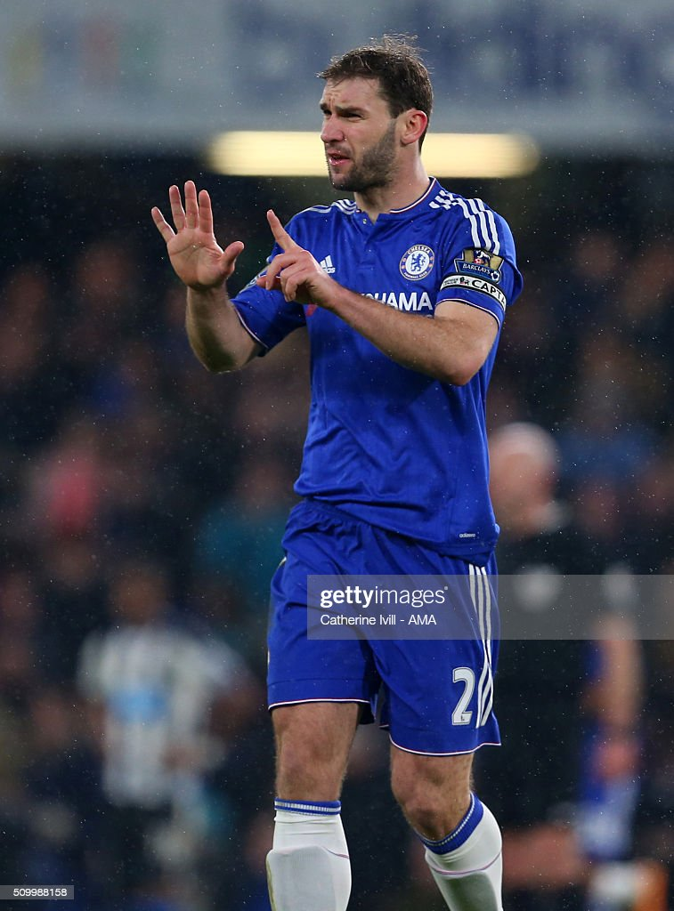 <a gi-track='captionPersonalityLinkClicked' href=/galleries/search?phrase=Branislav+Ivanovic&family=editorial&specificpeople=607152 ng-click='$event.stopPropagation()'>Branislav Ivanovic</a> of Chelsea holds his fingers up which by coincidence matched the 5-1 scoreline during the Barclays Premier League match between Chelsea and Newcastle United at Stamford Bridge on February 13, 2016 in London, England.