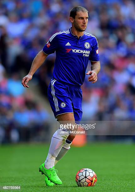 Branislav Ivanovic of Chelsea in actoin during the FA Community Shield match between Chelsea and Arsenal at Wembley Stadium on August 2 2015 in...