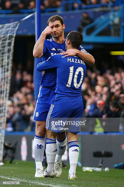 Branislav Ivanovic of Chelsea is congratulated by teammate Eden Hazard of Chelsea after scoring the opening goal during the Barclays Premier League...