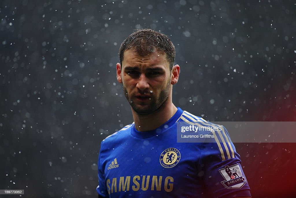 Branislav Ivanovic of Chelsea looks through the snow during the Barclays Premier League match between Chelsea and Arsenal at Stamford Bridge on January 20, 2013 in London, England.