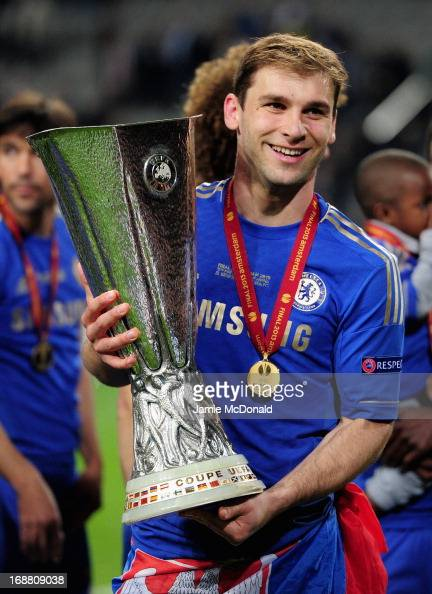 Branislav Ivanovic of Chelsea poses with the trophy during the UEFA Europa League Final between SL Benfica and Chelsea FC at Amsterdam Arena on May...