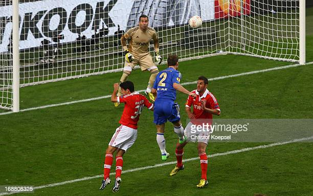 Branislav Ivanovic of Chelsea rises up to head in their second goal during the UEFA Europa League Final between SL Benfica and Chelsea FC at...