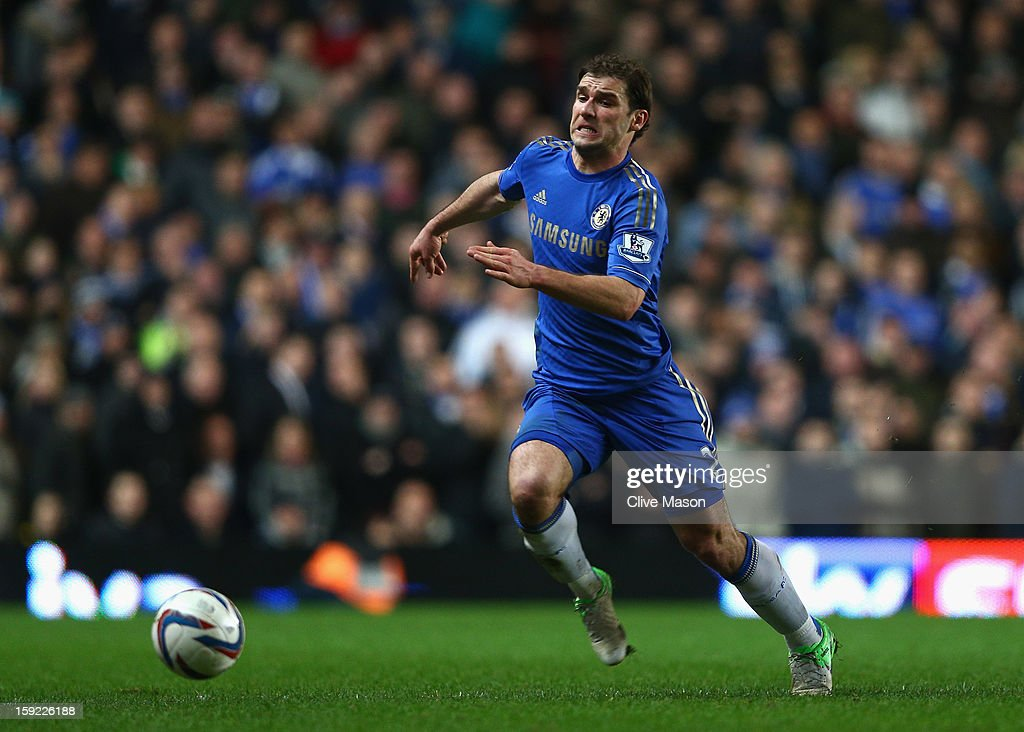 Branislav Ivanovic of Chelsea runs for the ball during the Capital One Cup Semi-Final first leg match between Chelsea and Swansea City at Stamford Bridge on January 9, 2013 in London, England.