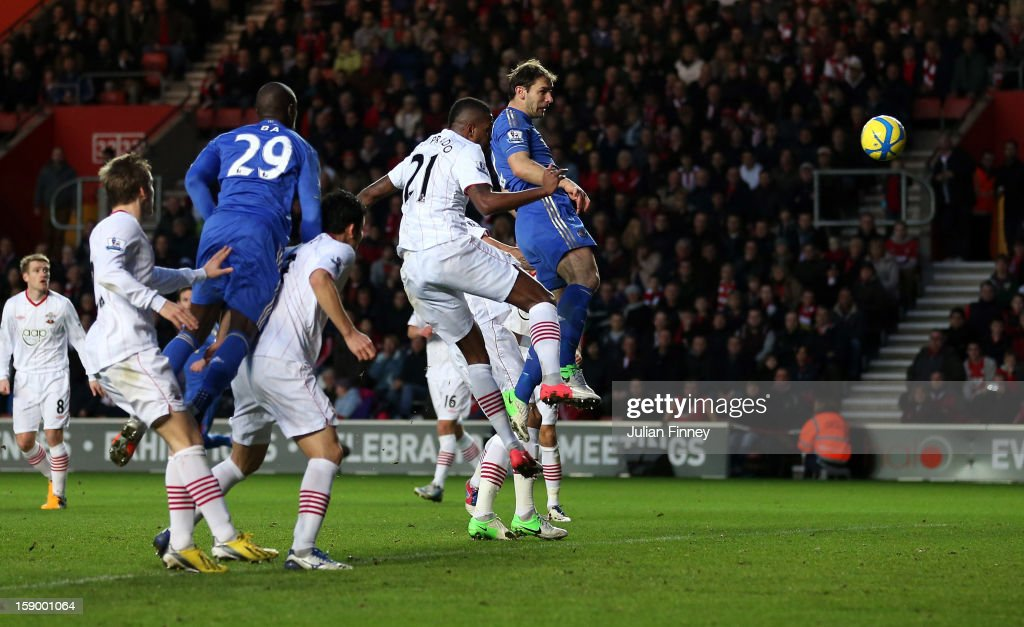 <a gi-track='captionPersonalityLinkClicked' href=/galleries/search?phrase=Branislav+Ivanovic&family=editorial&specificpeople=607152 ng-click='$event.stopPropagation()'>Branislav Ivanovic</a> of Chelsea scores a header for their third goal during the FA Cup Third Round match between Southampton and Chelsea at St Mary's Stadium on January 5, 2013 in Southampton, England.