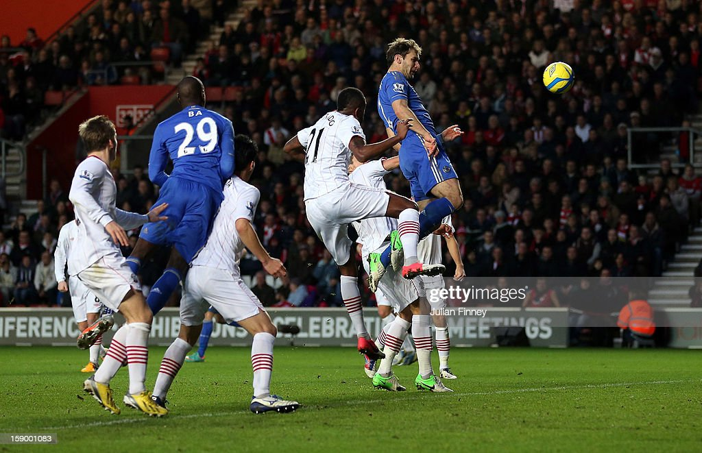 Branislav Ivanovic of Chelsea scores a header for their third goal during the FA Cup Third Round match between Southampton and Chelsea at St Mary's Stadium on January 5, 2013 in Southampton, England.