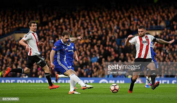 Branislav Ivanovic of Chelsea scores his sides first goal during the Emirates FA Cup Fourth Round match between Chelsea and Brentford at Stamford...