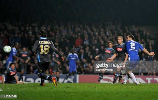 Branislav Ivanovic of Chelsea scores his team's fourth goal during the UEFA Champions League round of 16 second leg match between Chelsea FC and SSC...