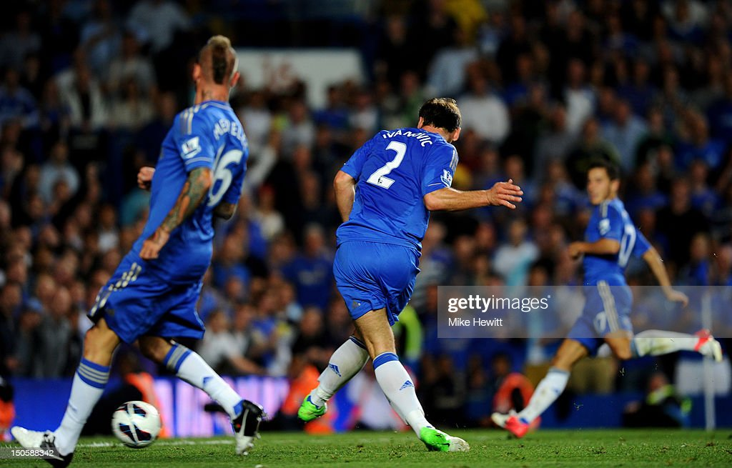 <a gi-track='captionPersonalityLinkClicked' href=/galleries/search?phrase=Branislav+Ivanovic&family=editorial&specificpeople=607152 ng-click='$event.stopPropagation()'>Branislav Ivanovic</a> of Chelsea scores their fourth goal during the Barclays Premier League match between Chelsea and Reading at Stamford Bridge on August 22, 2012 in London, England.