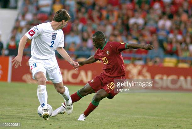 Branislav Ivanovic of Serbia and Montenegro and Lourenço of Portugal during 2006 UEFA European Under 21 Championship Group A match between Portugal...