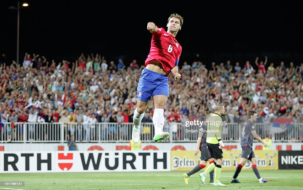 Branislav Ivanovic of Serbia celebrates scoring a goal during the FIFA 2014 World Cup Qualifier at stadium Karadjordje Park between Serbia and Wales on September 11, 2012 in Novi Sad, Serbia