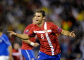 Branislav Ivanovic of Serbia celebrates scoring the first goal during the EURO 2012 Qualifier match between Serbia and Italy at Stadion Crvena Zvezda...