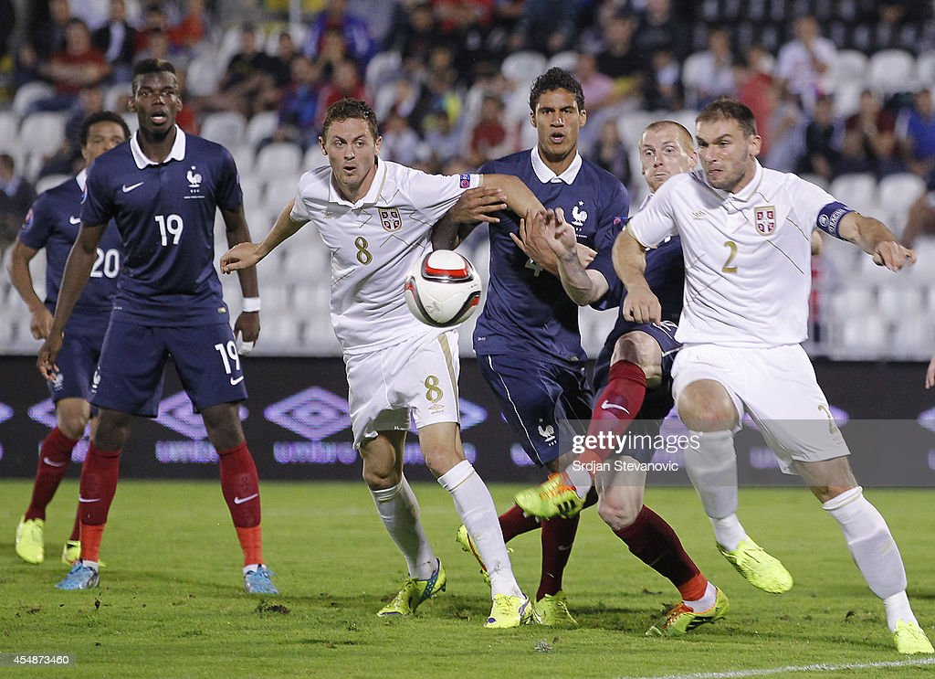Branislav Ivanovic of Serbia in action against Jeremy Mathieu during the International friendly match between Serbia and France at the Stadium JNA on...