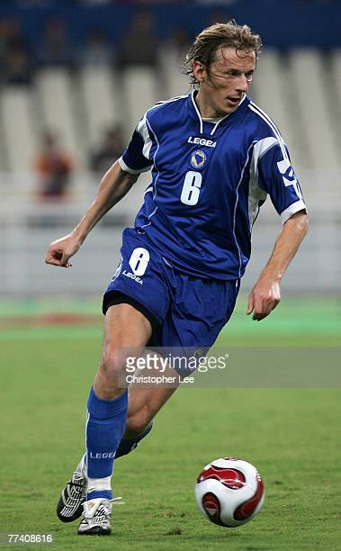 Branislav Krunic of Bosnia Herzegovina in action during the Euro 2008 Group C Qualifying match between Greece and Bosnia Herzegovina at the Olympic...