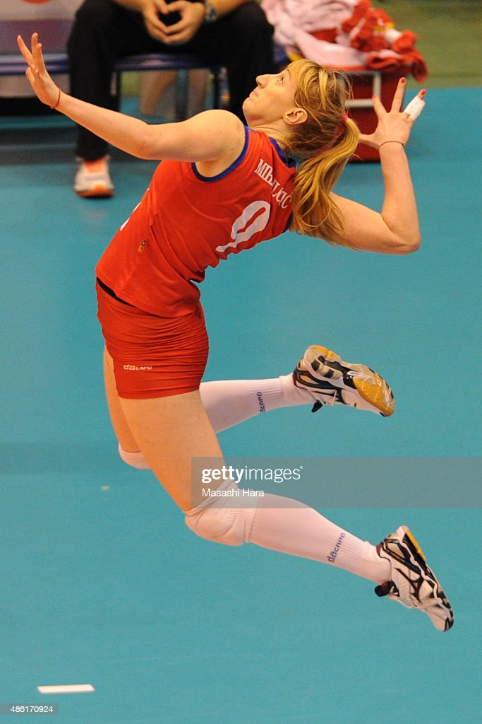 <a gi-track='captionPersonalityLinkClicked' href=/galleries/search?phrase=Brankica+Mihajlovic&family=editorial&specificpeople=9605568 ng-click='$event.stopPropagation()'>Brankica Mihajlovic</a> of Serbia serves during the match between Japan and Serbia during the FIVB Women's Volleyball World Cup Japan 2015 at Sendai City Gymnasium on September 1, 2015 in Sendai, Japan.