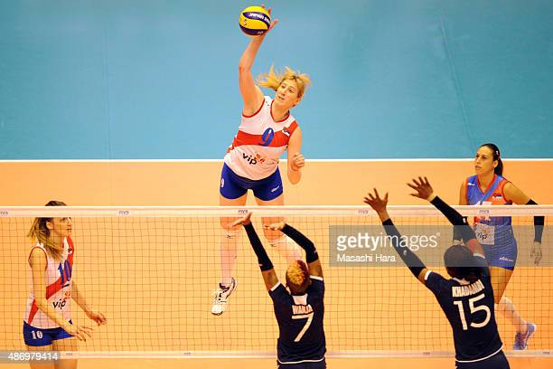 Brankica Mihajlovic of Serbia spikes during the match between Kenya and Serbia during the FIVB Women's Volleyball World Cup Japan 2015 at Park Arena...