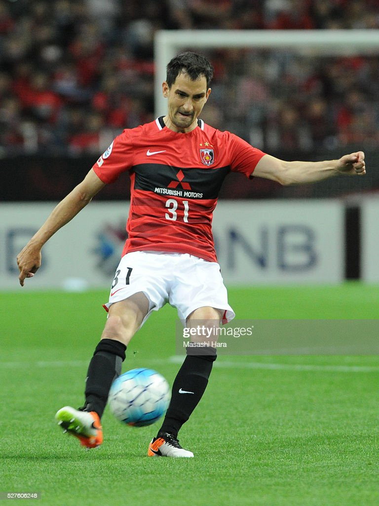 <a gi-track='captionPersonalityLinkClicked' href=/galleries/search?phrase=Branko+Ilic&family=editorial&specificpeople=2208739 ng-click='$event.stopPropagation()'>Branko Ilic</a> #31 of Urawa Red Diamonds in action during the AFC Champions League Group H match between Urawa Red Diamonds and Pohang Steelers at the Saitama Stadium on May 3, 2016 in Saitama, Japan.